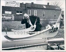 1958 Nashville TN Man Views Space Age Hot Rod Auto Press Photo