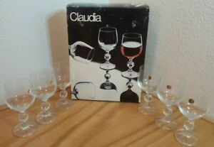 6 CLAUDIA SAXONY CRYSTAL GOBLETS MADE IN POLAND 5.5 INCHES TALL HOLDS 6 OZS