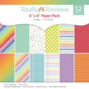 "12Pcs 6""X6"" Rainbow Patterned Paper Pad Scrapbooking Paper Handmade Craft Paper"