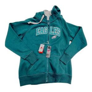 Antigua Eagles Hoodie Womens Large Full Zip Philadelphia Teal Green Logo NEW