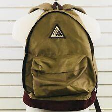 Vintage American Camper Backpack Tan Brown Leather Bottom Book School Bag Hiking