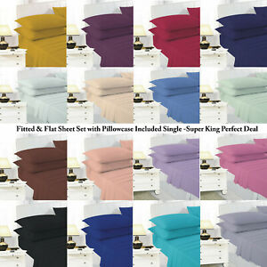Fitted & Flat Sheet Set with Pillowcase Included Single -Super King Perfect Deal