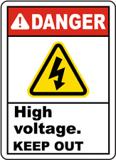 "Danger High Voltage Keep Out Sign 8""x12"" .040″ Aluminum English/Spanish E3440"