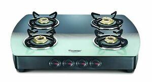 Prestige 4 Burner Gas Stove Premia Schott Glass Manual Ignition Multicolor Color