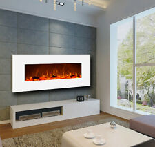 "Touchstone 50"" Ivory wall-mount electric fireplace, white. Heat, simulated flame"