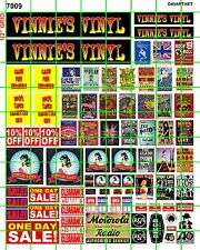 7009 DAVE'S DECALS BIZ SET VINNIE'S VINYL RECORD STORE SIGNAGE CONCERT POSTERS