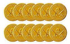 72 PIRATA ORO MONETE (6 sacchi di 12) - PLASTICA Treasure partito / Loot Bag PINATA filmjölk