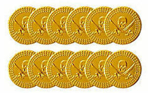 72 Gold Pirate Coins (6 Bags Of 12) - Plastic Treasure Party/Loot Bag Pinata Fil
