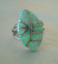 Native American Sterling Silver Ring w/ Opal Stone Size 5 Signed TS Zuni
