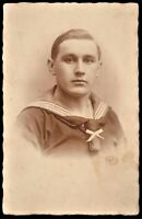 WW1 GERMAN SAILOR IMPERIAL KRIEGSMARINE WAR NAVY RPPC ANTIQUE PHOTO POSTCARD