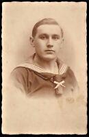 WW1 GERMAN SAILOR IMPERIAL KRIEGSMARINE WAR NAVY RPPC ANTIQUE PHOTO POSTCARD