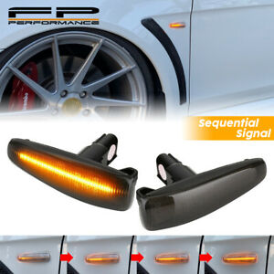 For Lancer Evo X Mirage Clear Sequential LED Side Marker Turn Signal Light Smoke