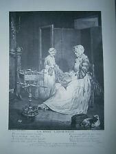 Planche gravure La mére laborieuse d'après un tableau de Chardin exposé en 1740