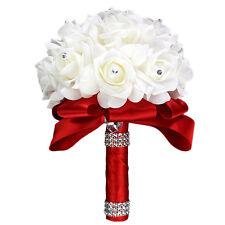Beauty Handmade Rose Bridal Wedding Flowers Silk Crystal Pearl Brooch Bouquet