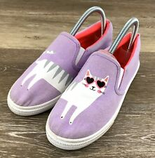 Fabkids Purple Cat Slip On Sneakers Loafers Youth Girls 5