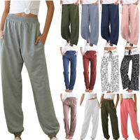 Women Drawstring Loose Harem Pants Ladies Long Casual Trousers With Pocket