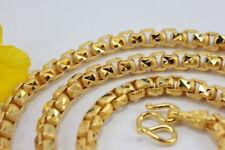"HEAVY MEN Box Link CHAIN 28"" Baht Necklace 22K 24K Gold GP Thai Jewelry GT49"
