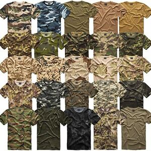 US Army T-Shirt Bundeswehr Tarn T-Shirt Camouflage 35 Farben Uni Camo BW