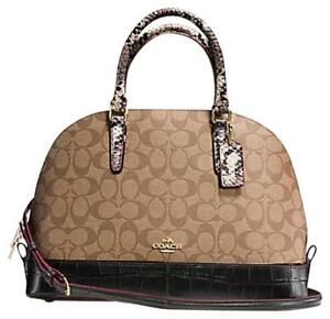 NWT Coach Sierra Signature Satchel With Exotic Mix Trim Khaki / Black MSRP $475