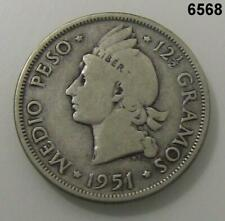 1951 DOMINICAN REPUBLIC 1/2 PESO .900 SILVER! #6568