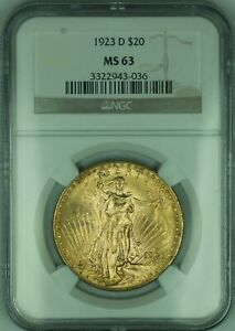 1923-D $20 Dollar St. Gaudens Double Eagle Gold Coin NGC MS-63
