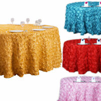 47/120'' 3D Rosette Satin Fabric Tablecloth Round Wedding Table Cover Banquet US