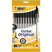 10 Pack of BIC Cristal Original 1.0 mm Point Ballpoint Pens Black Biros