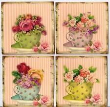 Vintage inspired 6 tea cups posies flowers card stationery envelopes organza bag