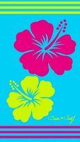 Serviette de plage Drap de bain Fleurs hibiscus turquoise fuchsia en Jacquard