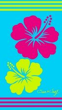 Serviette de plage Drap de bain Fleurs hibiscus turquoise fushia en Jacquard