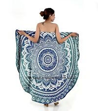 Round Towel Ombre Mandala Towel Gym Sport Footy Travel Camping Swimming