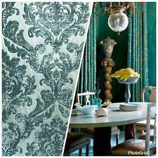 Designer Damask Burnout Chenille Velvet Fabric - Turquoise Green