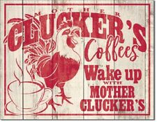 Mother Clucker's Brand Coffee Distressed Humor Wake Up Retro Wall Metal Tin Sign