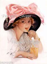 Harrison Fisher Girl Victorian Edwardian Pink Hat Fabric Block Piece