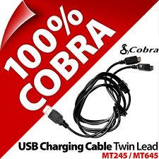 Cobra Carga USB Cable Doble Cable cargador Negro para MicroTalk Mt245 Mt645