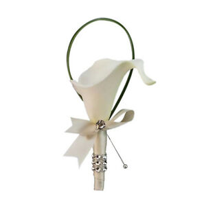 Nice quality Real touch calla lily boutonniere Ivory Ribbon Wrapped