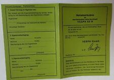 abe vespa ROLLER  Betriebserlaubnis Blanko KLEINKRAFTRAD  N  laminierte papiere