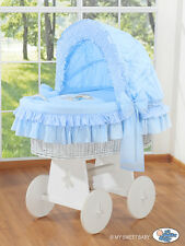 My Sweet Baby - Bear White Wicker Crib Moses Basket - Blue