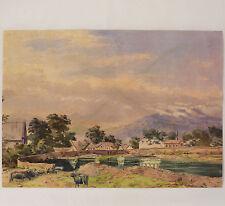 Aquarelle ancienne paysage animé montagne village buffle Début XXème