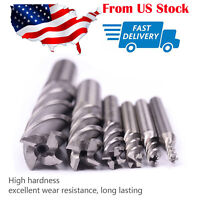 "6pc HSS CNC 4 Flute Spiral Bit End Mill Cutter 1/8 3/16 1/4 5/16 5/8 1/2""  in US"