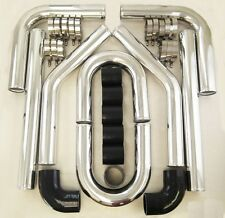 "3"" 3 Inch 76mm Turbo Intercooler Aluminum Pipe Silicone Hose Kit Black"