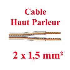 Câble Haut Parleur 2 x 1,5 mm² long 10 Métres Conducteurs sous Gaine Repérés
