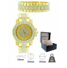 NEW-BLING MASTER GOLD TONE SET,PAVE CRYSTALS COVERED DIAL,GLITZ WATCH+BRACELET
