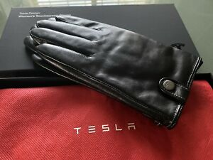Rare New Original Tesla Roadster Touchscreen Leather Womens Driving Gloves - M