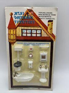 Mini Doll House Furniture Bathroom Set Toilet Sink Mirror Tub Made in Hong Kong