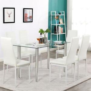 Dining Table Set Simple Transparent Glass Iron Dining Table 7pcs Elegant Kitchen