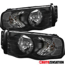For 2002-2005 Dodge Ram 1500/2500/3500 Black Headlights Lamps Pair Left+Right