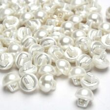 Pearl Effect Sewing Buttons Round Domed Clothes Dress White 9mm 50PCS