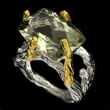 Natural GEM 18x12 Mm Nice Green Amethyst 925Sterling Silver 2-TONE Ring HANDMADE