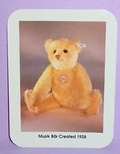 "STEIFF BEAR COLLECTOR CARD..Musik Bar Created 1928 3"" x 4"" 1992 First printing"